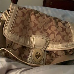 Coach purse, khaki and gold